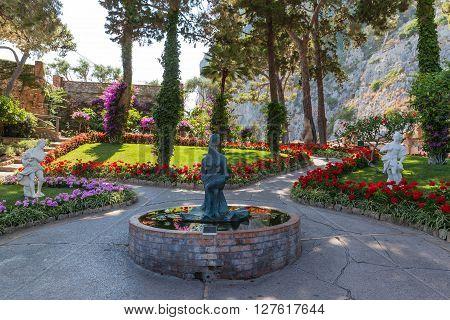 View of the Gardens of Augustus (Giardini di Augusto) on Capri Island Campania Italy.