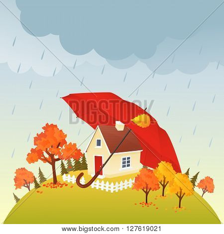 House under red umbrella in rain. Fall time