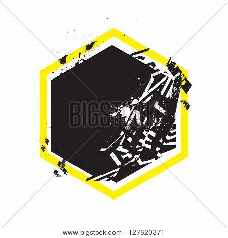 Vector Grunge Stylized Geometrical Shape With Splashes And Splatters. Hexagon Symbol Exploded And Da