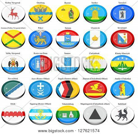Set of icons. Flags of the Russian cities.