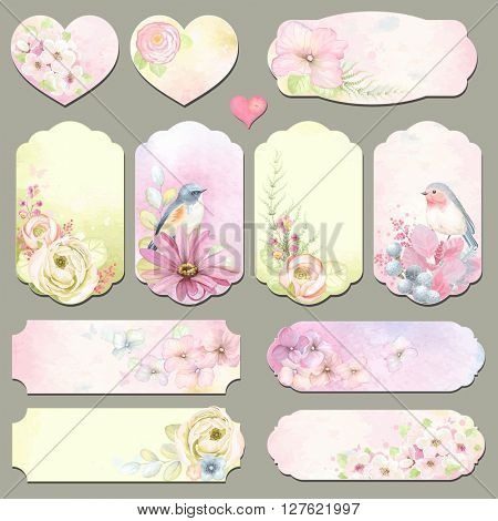 Collection holidays labels with design elements, Robin and Blue-tail birds, flowers and leaves, vector illustration in vintage style on watercolor background.