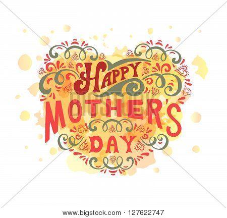 Hand Lettered Style Happy Mother's Day Logotype, Badge And Icon