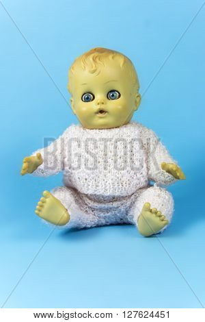 vintage doll, dolly, puppet, old toy, reto, blue, background, infant, infantile, childish