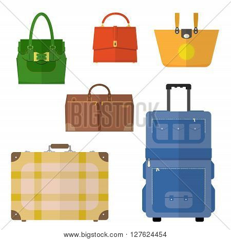 Bags vector set. Bags isolated. Bags icon. Ladies handbag, suitcase. Vector collection. Bags flat design