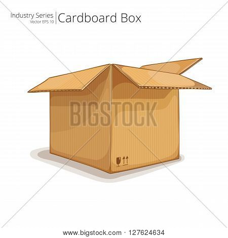 Abstract open Cardboard Box. Front perspective view. Vector EPS10.