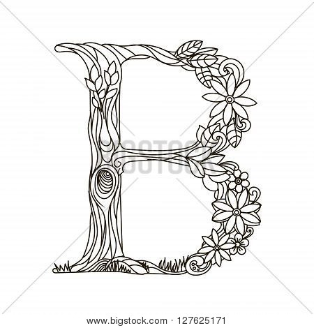 Floral Alphabet Letter Coloring Book For Adults Vector Illustration Anti Stress Adult