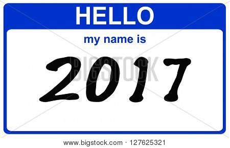 hello my name is 2017 blue sticker