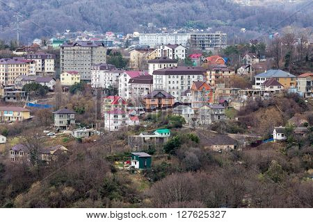Houses on the background of mountains. Sochi. Russia ** Note: Soft Focus at 100%, best at smaller sizes