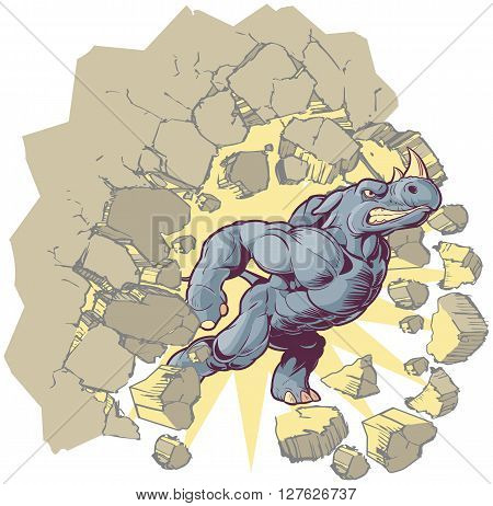 Vector Cartoon Clip Art Illustration of an Anthropomorphic Mascot Rhino Crashing through a wall.