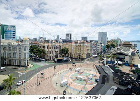 RECIFE, BRAZIL - CIRCA APRIL, 2016: Buildings in Marco Zero in Recife, Pernambuco State, Brazil