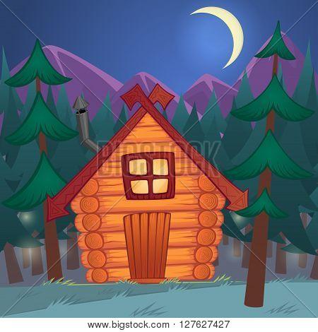 Vector cartoon wooden little shack in the night woods