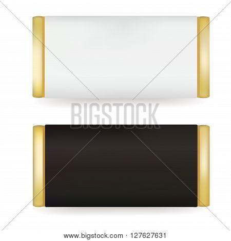 White and Black Blank Food Packaging For Biscuit Wafer Crackers Sweets Chocolate Bar Candy Bar Snacks . Design Template. Isolated On White Background. Package Mock-up.