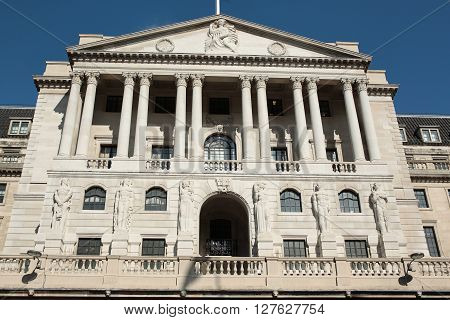 LONDON - MAR 31 2016: General view of The Bank Of England building in London