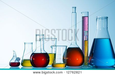 Assorted laboratory glassware equipment ready for an experiment in a science research lab