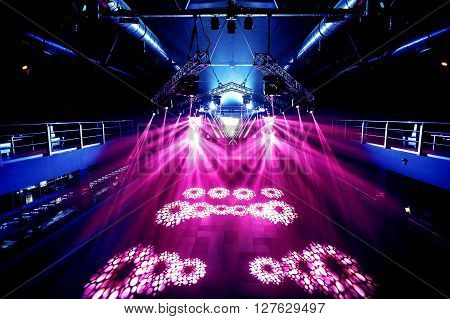 Nightclub lightning without people. Techno music arena