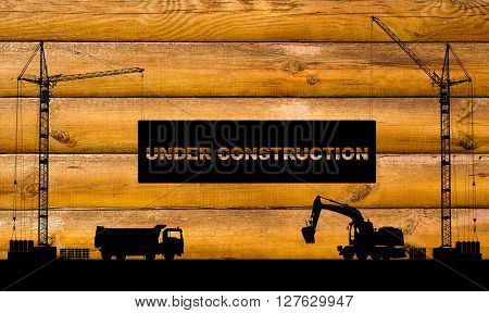 """under Construction"" Concept At Building Site With Detailed Silhouettes Of Construction Machines On"