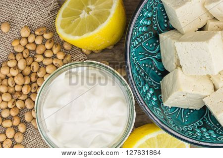 Soy Mayonnaise, Lemon, Soybeans And Tofu, On Wooden Background