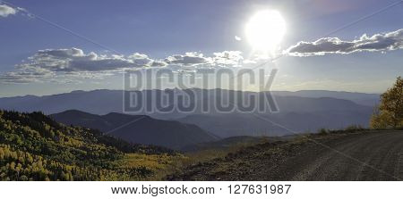 Sky and scenery from a mountain road