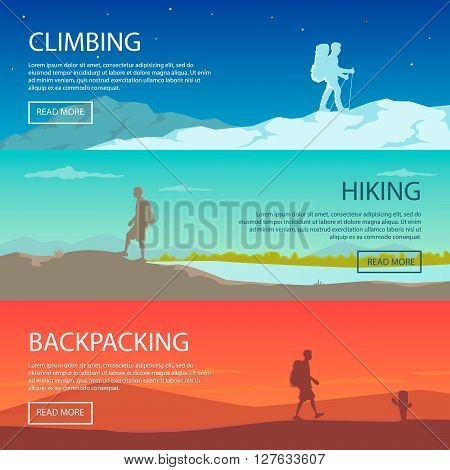 Set of flat vector web banners. Climbing, hiking, backpacking, walking. Outdoor, sport, nature. Flat design. Outdoor recreation concept. Travel with backpack. Camping. Travel concept. Landscape.