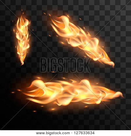 Realistic fire flames vector effect for design. Burning flame vector illustration. Fire flame with transparency.