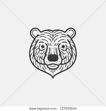 Bear head line illustration