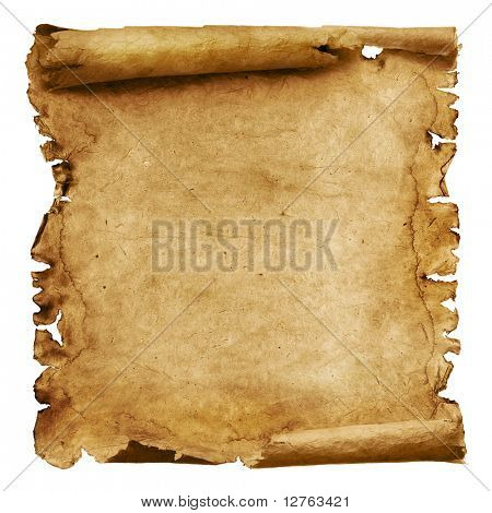 Alte Papier-Scroll, isolated on white