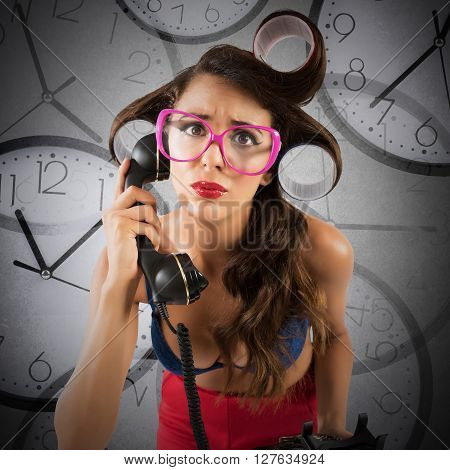 Airhead pin-up mazed girl with watches background