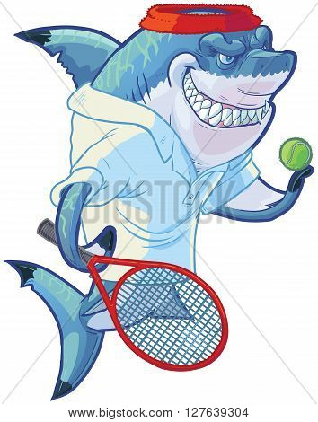 Vector cartoon clip art illustration of a tough mean smiling shark mascot wearing a tennis shirt and headband while holding a racquet or racket and ball. Customizable accessories are on a separate layer in the vector file.