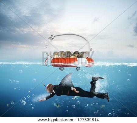 Lifebelt with piggybank and man as sharks