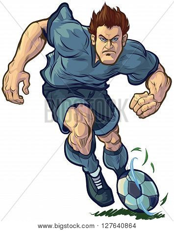 Vector cartoon clip art illustration of a tough mean determined soccer or football player dribbling the ball forward. Color and Uniform elements are on separate layers in vector file for easy custom changes.