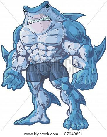 Vector cartoon clip art illustration of a muscular tough and mean looking anthropomorphic half shark half man hybrid creature. poster