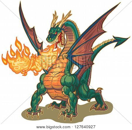 Vector cartoon clip art illustration of a muscular dragon mascot breathing fire with wings spread. The fire is on a separate layer for easy editing.