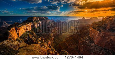 Cape Royal Grand Canyon North Rim Dramatic Sunset Clouds Arizona Landscape