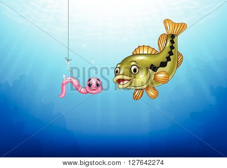 Vector illustration of Cartoon bass fish hunting a pink worm