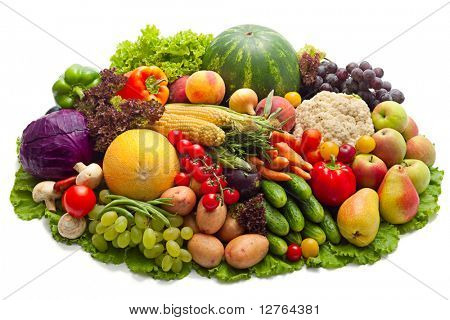 Fresh Vegetables, Fruits and other foodstuffs isolated on white.