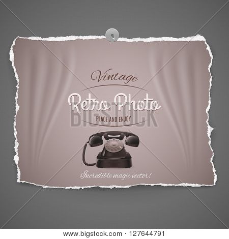 Vintage Retro Black Telephone Ilustration on peace of old photo paper on gray backgroundpart of Vintage Retro Photo Series