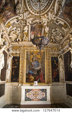 ROME, ITALY - APRIL 8, 2016: Capitoline Museums. Interior of Palazzo Nuovo.