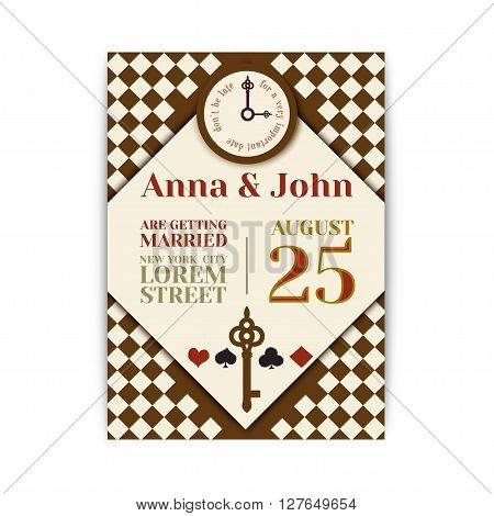 Wedding Party in Wonderland. Save the date invitation Alice in Wonderland theme. vector template for wedding or birthday party.