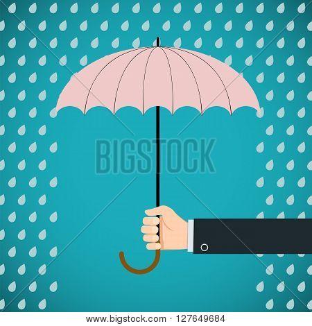 Human hand holding an umbrella. Protection from rain. Stock vector illustration.