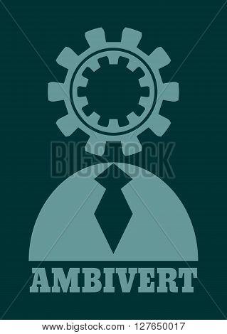 Ambivert metaphor. Simple human torso icon. Image relative to human psychology poster