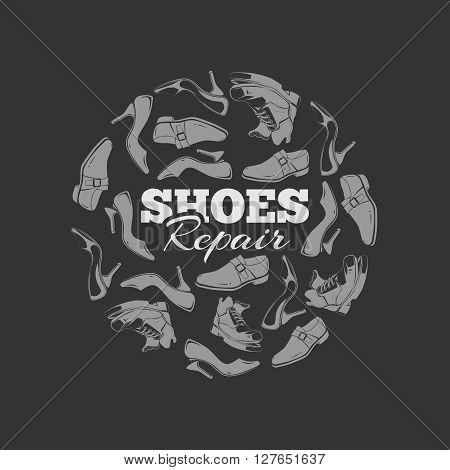 vintage circle of demaged shoes. Concept picture with place for your text. you can try this to your design projects