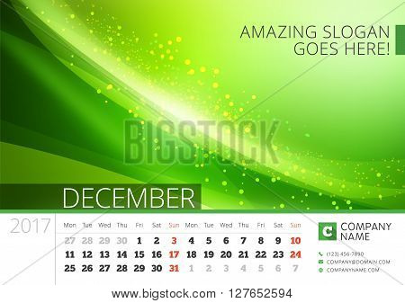 Desk Line Calendar For 2017 Year. Vector Design Print Template With Abstract Background. December. W