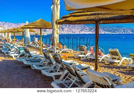 EILAT ISRAEL - FEBRUARY 23 2016: Winter probably the best time to spend a vacation in Eilat on February 23 in Eilat.