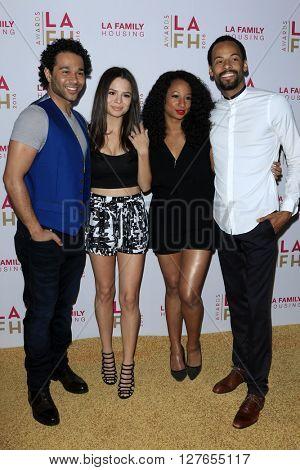 LOS ANGELES - APR 21:  Corbin Bleu, Sasha Clements, Monique Coleman, Walter Jordan at the LA Family Housing Awards at the The Lot on April 21, 2016 in Los Angeles, CA
