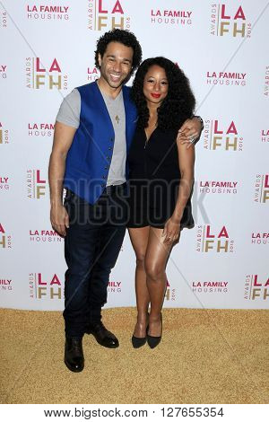 LOS ANGELES - APR 21:  Corbin Bleu, Monique Coleman at the LA Family Housing Awards at the The Lot on April 21, 2016 in Los Angeles, CA
