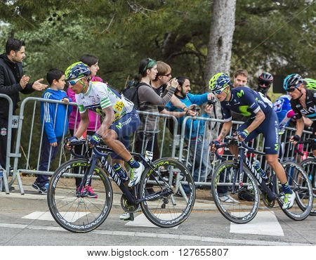 Barcelona Spain - March,27 2016: The Colombian cyclist Nairo Quintana of Movistar Team riding in the peloton during Volta Ciclista a Catalunya on the top of Montjuic in Bracelona Spain on March 27 2016. Quintana was te winner of the race.
