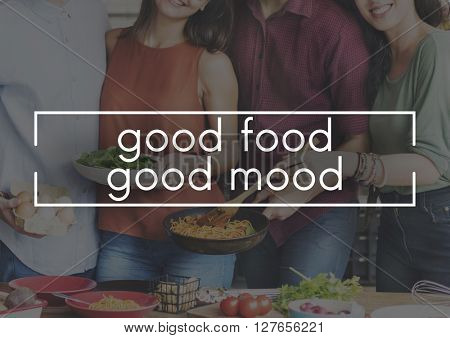 Good Food Good Mood Eating Party Celebration Concept