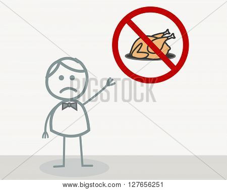 No Meat .eps10 editable vector illustration design