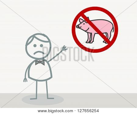 No Pork .eps10 editable vector illustration design
