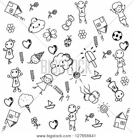 Doodle set of objects a funny for kids